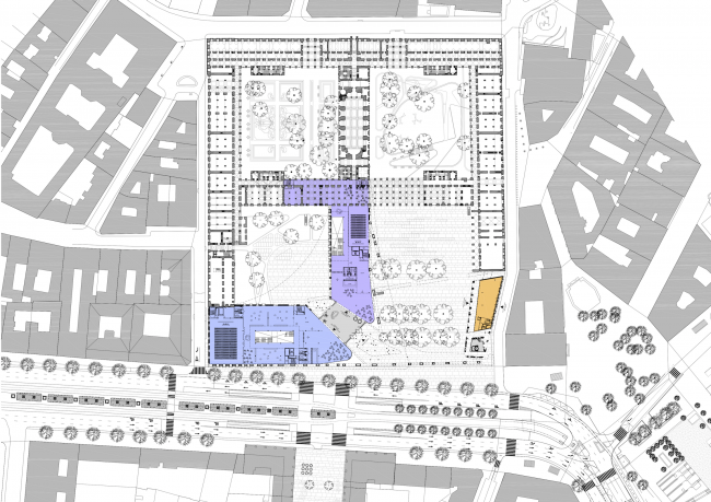 Project for New National Gallery and Ludwig Museum in Budapest. Plan of the main floor © (designed by) Erick van Egeraat
