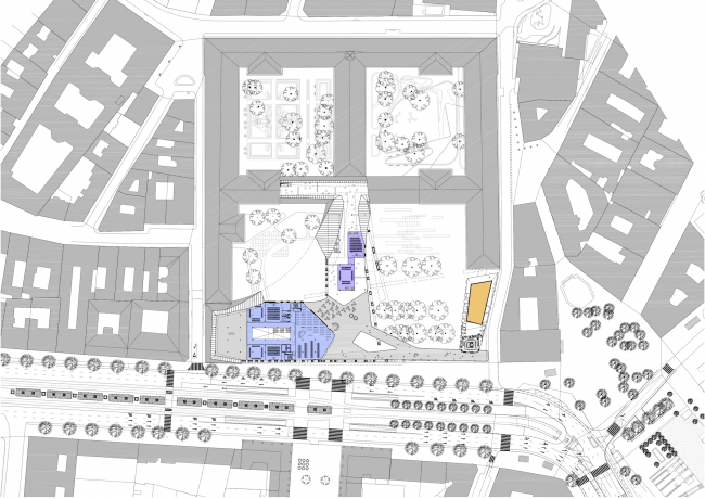 Project for New National Gallery and Ludwig Museum in Budapest. Plan of the top floor © (designed by) Erick van Egeraat