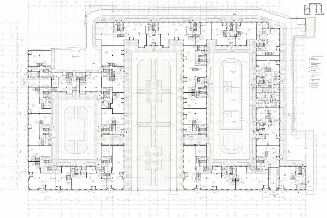 Многоквартирный дом со встроенными помещениями в Басковом переулке. Проект, 2013. План 1 этажа