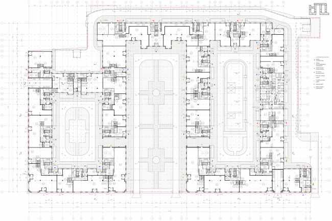 Multi-apartment building with integrated premises in Baskov Alley. Plan of the 1st floor © Eugene Gerasimov and partners