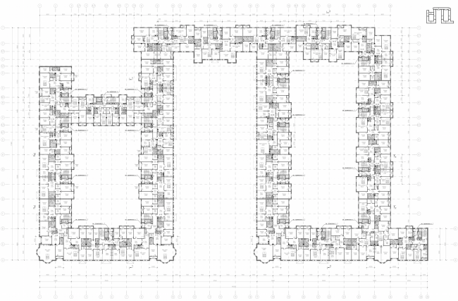 Multi-apartment building with integrated premises in Baskov Alley. Plan of the 5th floor © Eugene Gerasimov and partners