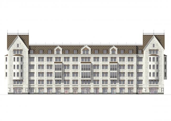 Многоквартирный дом со встроенными помещениями в Басковом переулке. Проект, 2013. Фасад © Евгений Герасимов и партнеры