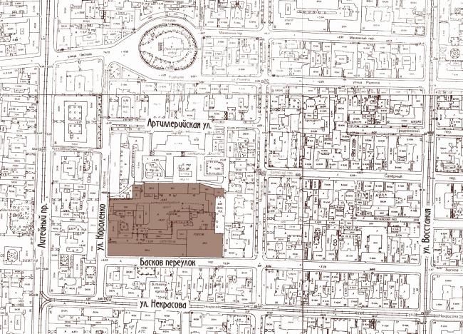 Многоквартирный дом со встроенными помещениями в Басковом переулке. Проект, 2013. Ситуационный план © Евгений Герасимов и партнеры