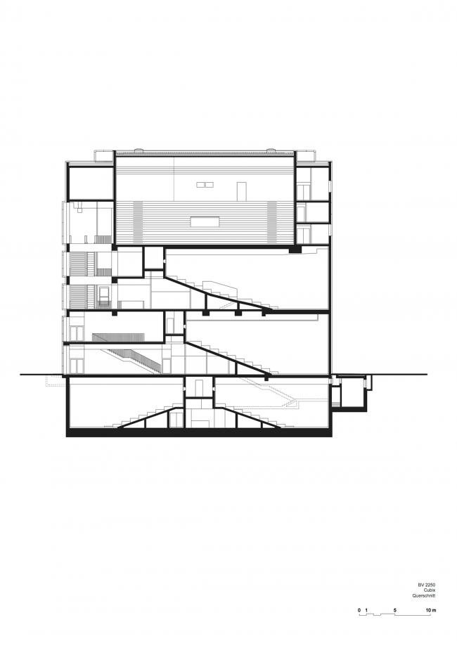 Кинотеатр Cubix. Разрез © nps tchoban voss
