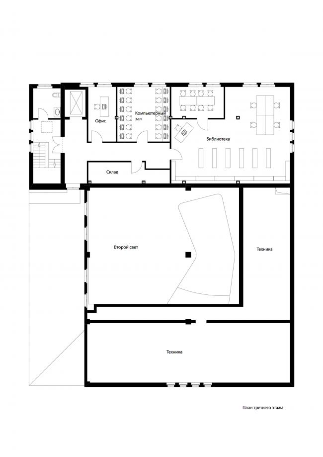 Еврейский культурный центр и синагога Хабад Любавич. План 3 этажа © nps tchoban voss