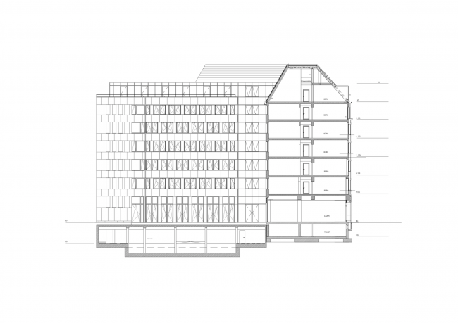 Офисное и торговое здание Унтер-ден-Линден в Берлине. Разрез © nps tchoban voss