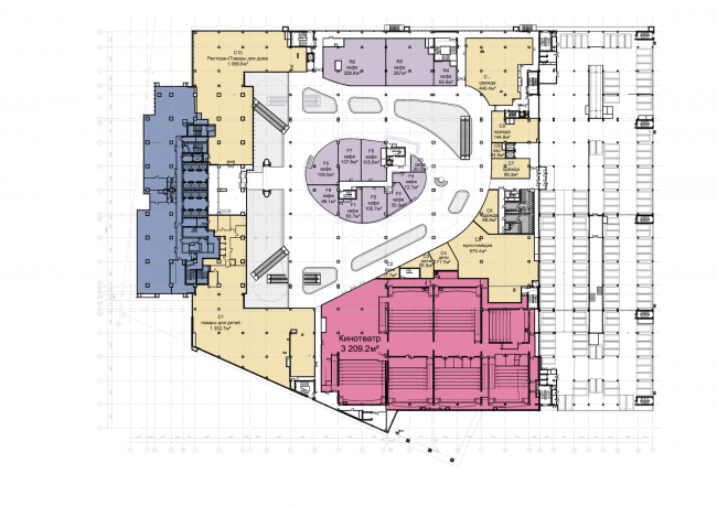 "Shopping and business center ""Vodny"". Plan of the 3rd floor © Atrium Architects"