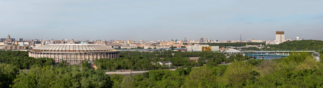 "Rusian Olympic Committee HQ. Panoramic view from the Sparrow Hills © ""Reserve"""