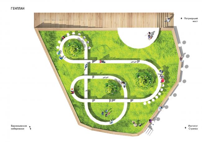 Общественная зона компании «Мегафон» на «Красном Октябре». Генеральный план © Архитектурное бюро «Новое»