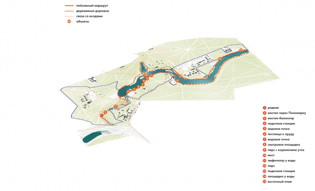 Парк «Кузьминки». Пейзажный маршрут © Alphabet city