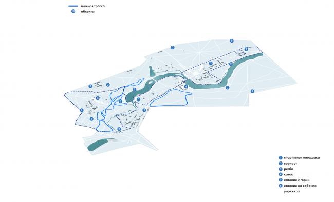 Парк «Кузьминки». Зимний спортивный маршрут © Alphabet city