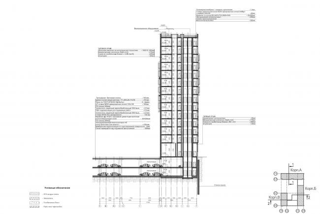 Жилой комплекс ЗИЛАРТ (лот №4). Разрез © Мезонпроект