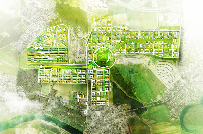 Architectural and engineering proposal on the housing project in Ilinskoe. Master plan © Vissarionov Studio