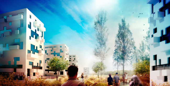 """Architectural and engineering proposal on the housing project in Ilinskoe. View of the """"dot-dash"""" housing © Vissarionov Studio"""