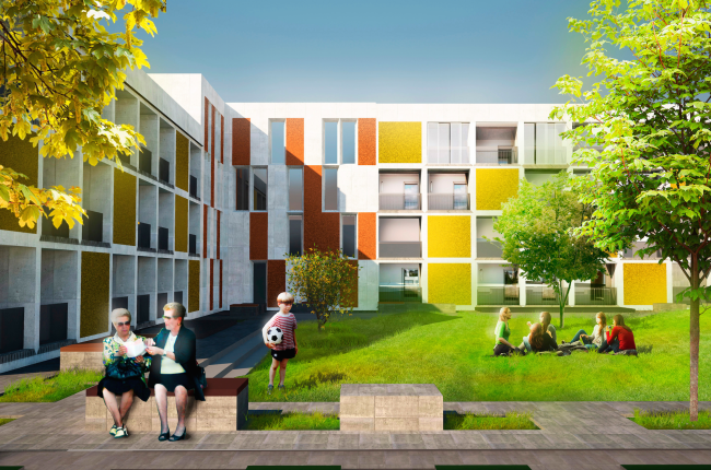 Architectural and engineering proposal on the housing project in Ilinskoe. View of the block part © Vissarionov Studio