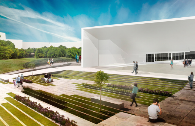 Architectural and engineering proposal on the housing project in Ilinskoe. View of the entertainment center from the central boulevard © Vissarionov Studio