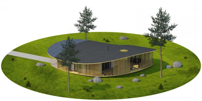 "Architectural concept of ""Ishim"" techno-park. ""TIKAL"" House © Totan Kuzembaev Studio"