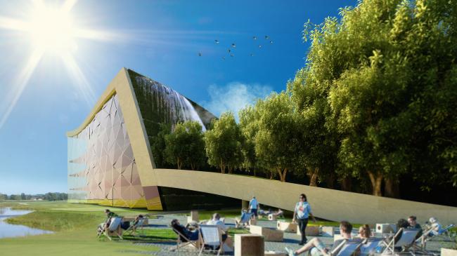 Архитектурная концепция технопарка «Ишим». Вид на учебно-выставочный комплекс © АМ Тотана Кузембаева
