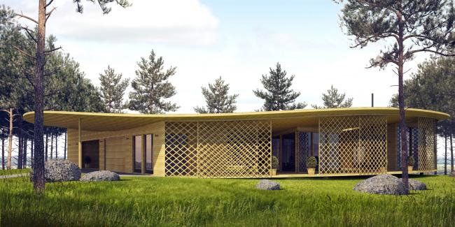 "Architectural concept of ""Ishim"" techno-park. ""Mirabel"" Villa © Totan Kuzembaev Studio"