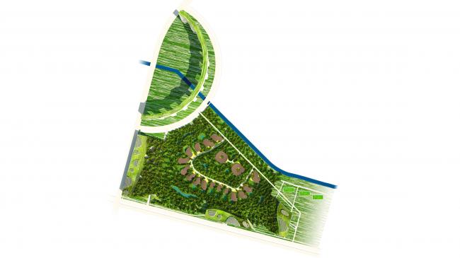 "Architectural concept of ""Ishim"" techno-park. Master plan © Totan Kuzembaev Studio"
