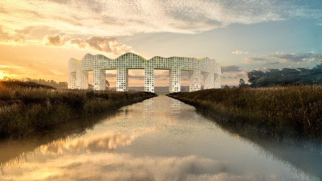 "Architectural concept of ""Ishim"" techno-park. View of the hotel complex © Totan Kuzembaev Studio"