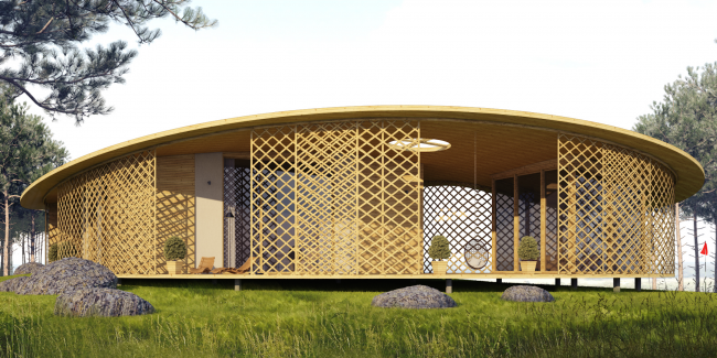 Архитектурная концепция технопарка «Ишим». Дом «Тикаль» © АМ Тотана Кузембаева