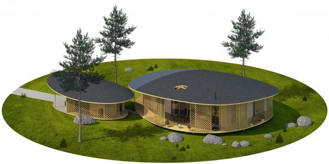 "Architectural concept of ""Ishim"" techno-park. ""Fjordland"" House © Totan Kuzembaev Studio"