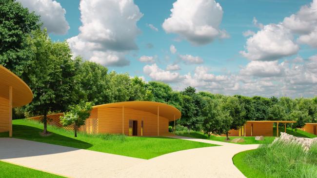 "Architectural concept of ""Ishim"" techno-park. Villas © Totan Kuzembaev Studio"