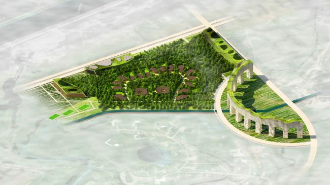 "Architectural concept of ""Ishim"" techno-park. Axonometry © Totan Kuzembaev Studio"