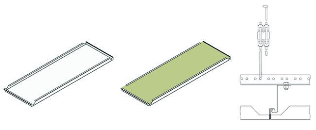 Элементы потолочной системы акустического потолка HOOK-ON система H-100 и принцип их крепления. Иллюстрация предоставлена компанией «АСП-Технолоджи»