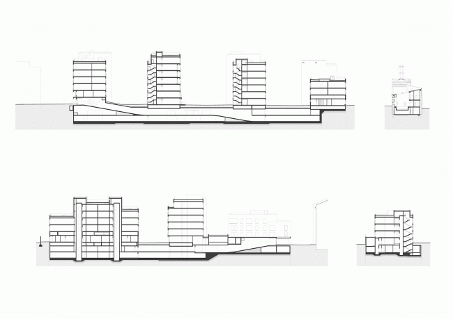 """Residetial complex at the Leo Tolstoy Street. Section views ©  """"Sergey Kiselev and Partners"""""""