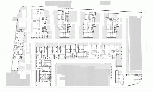 """Residetial complex at the Leo Tolstoy Street. Plan of the first floor ©  """"Sergey Kiselev and Partners"""""""