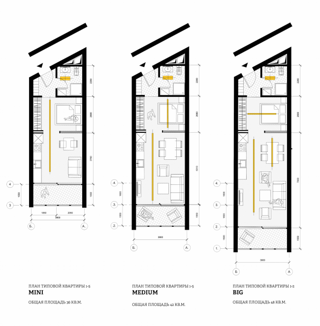 A student housing project. Floor plans of the studios. Author: Polina Korochkova, fourth year student of Moscow Institute of Architecture