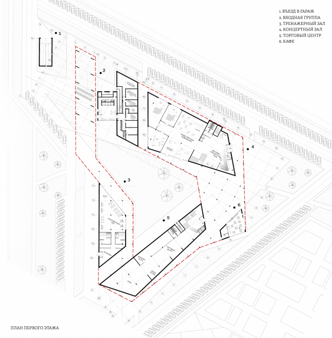 A student housing project. Stylobate. Plan of the first floor. Author: Polina Korochkova, fourth year student of Moscow Institute of Architecture