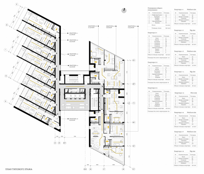 Студенческий проект на тему «Жилой дом». План типового этажа. Автор: Полина Корочкова, студентка 6 группы 4 курса кафедры «ПРОМ», МАРХИ