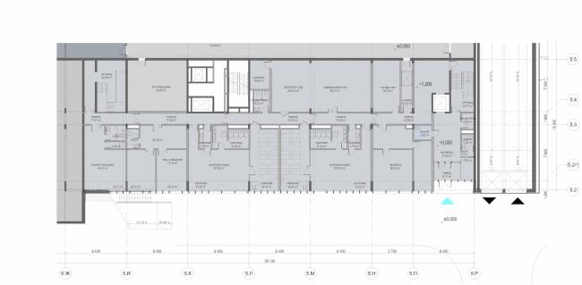 "Multifunctional residential development in Khamovniki (Quarter 5 of ""Sadovye Kvartaly"" complex). Plan of the first level of Building 5.2 © Sergey Skuratov Architects"