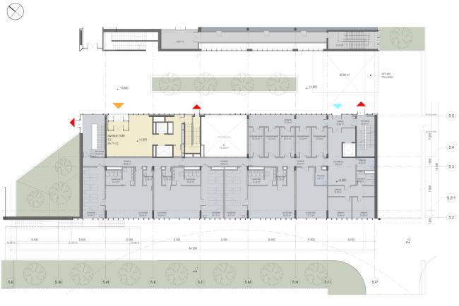 "Multifunctional residential development in Khamovniki (Quarter 5 of ""Sadovye Kvartaly"" complex). Plan of the second level of Building 5.2 © Sergey Skuratov Architects"