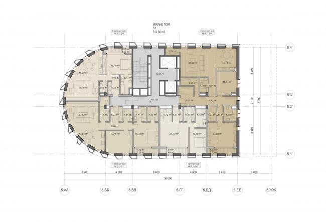 "Multifunctional residential development in Khamovniki (Quarter 5 of ""Sadovye Kvartaly"" complex). Plan of floors 3-5 of Building 5.1 © Sergey Skuratov Architects"