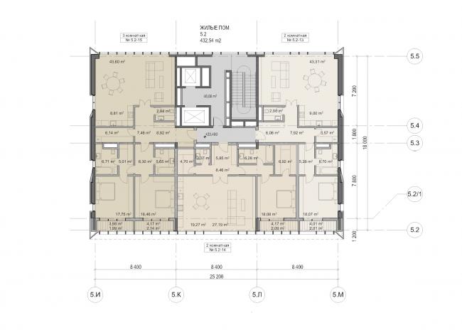 "Multifunctional residential development in Khamovniki (Quarter 5 of ""Sadovye Kvartaly"" complex). Plan of the 6th floor of Building 5.2 © Sergey Skuratov Architects"
