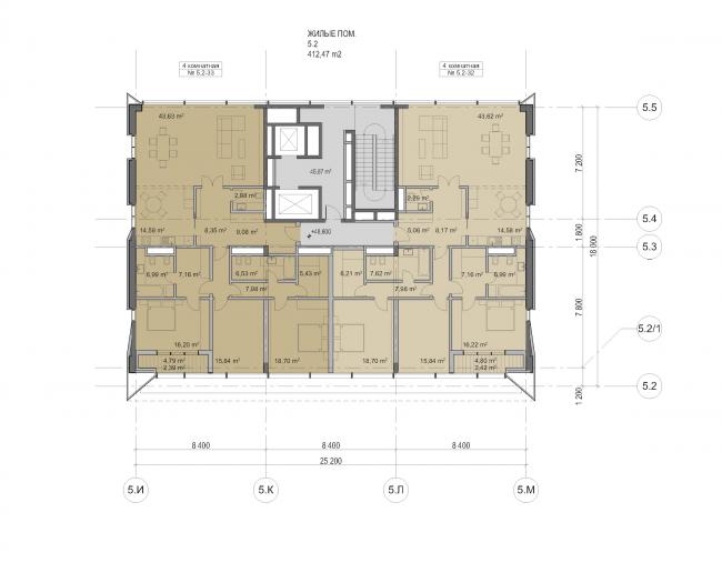 "Multifunctional residential development in Khamovniki (Quarter 5 of ""Sadovye Kvartaly"" complex). Plan of floors 12-14 of Building 5.2 © Sergey Skuratov Architects"