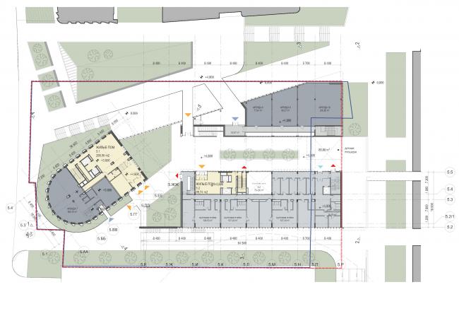 "Multifunctional residential development in Khamovniki (Quarter 5 of ""Sadovye Kvartaly"" complex). Plan of the level of the entrance areas © Sergey Skuratov Architects"