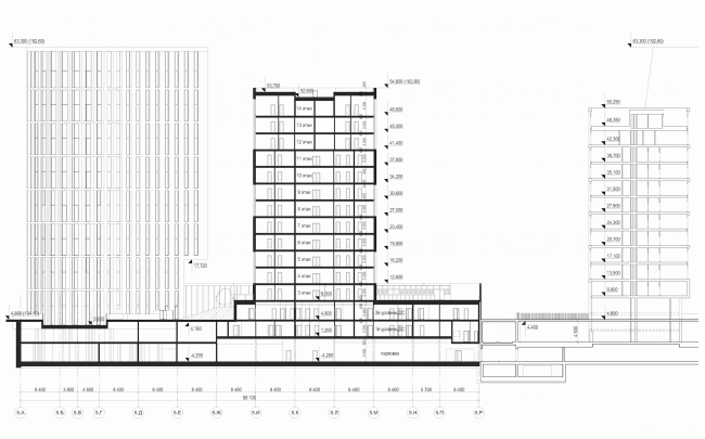 "Multifunctional residential development in Khamovniki (Quarter 5 of ""Sadovye Kvartaly"" complex). Section view © Sergey Skuratov Architects"
