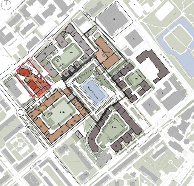 "Multifunctional residential development in Khamovniki (Quarter 5 of ""Sadovye Kvartaly"" complex). Location plan © Sergey Skuratov Architects"