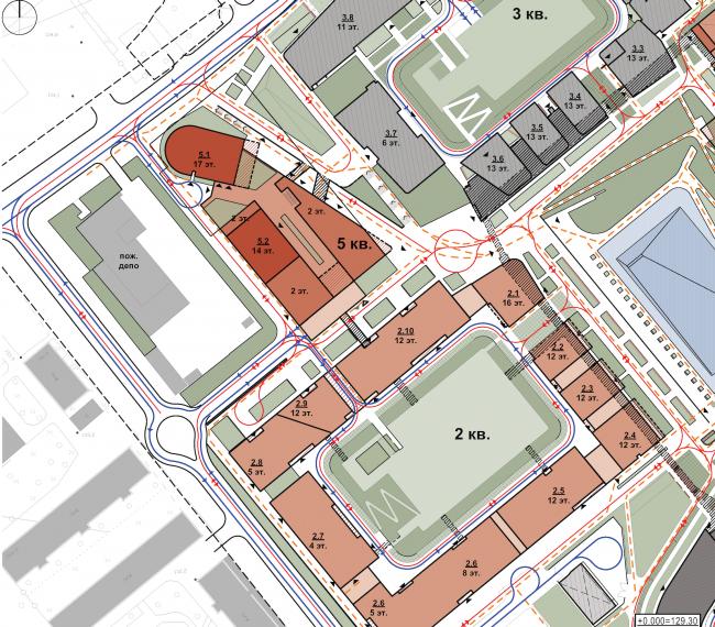 "Multifunctional residential development in Khamovniki (Quarter 5 of ""Sadovye Kvartaly"" complex). Transportantion layout © Sergey Skuratov Architects"