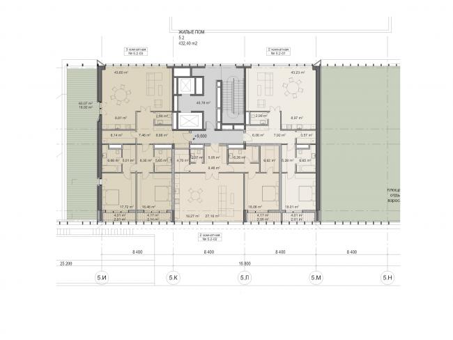 "Multifunctional residential development in Khamovniki (Quarter 5 of ""Sadovye Kvartaly"" complex). Plan of the third floor of Building 5.2 © Sergey Skuratov Architects"