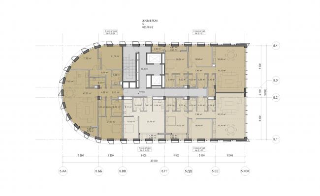 "Multifunctional residential development in Khamovniki (Quarter 5 of ""Sadovye Kvartaly"" complex). Plan of floors 7-16 of Building 5.1 © Sergey Skuratov Architects"