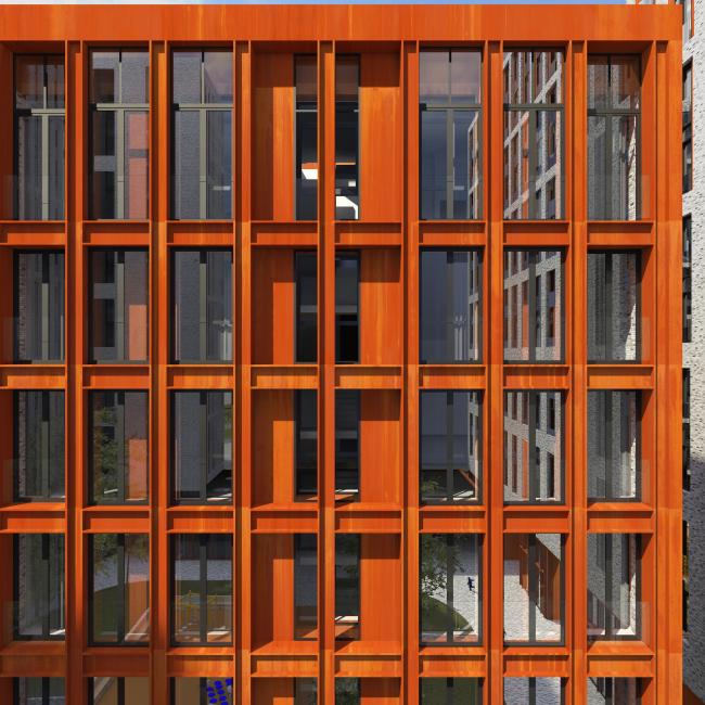 Жилой комплекс «Полуостров Зил». Фрагмент фасада © Сергей Скуратов ARCHITECTS