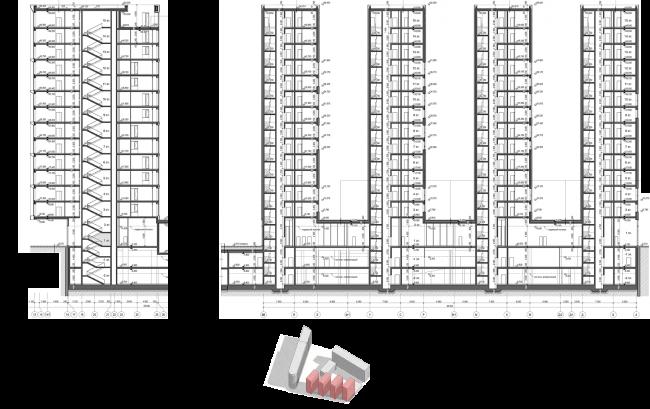 Жилой комплекс «Полуостров Зил». Лот 2. Корпуса А, Б, В, Г. Разрезы © Сергей Скуратов ARCHITECTS