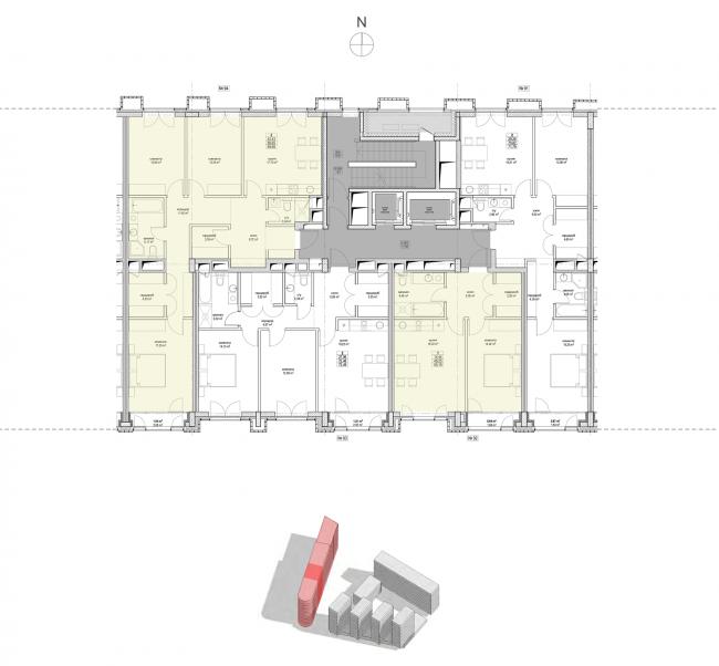 Жилой комплекс «Полуостров Зил». Секция 2. План типового этажа © Сергей Скуратов ARCHITECTS