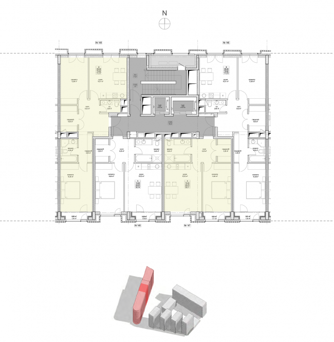 Жилой комплекс «Полуостров Зил». Секция 3. План типового этажа © Сергей Скуратов ARCHITECTS